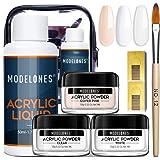 Acrylic Powder and Liquid Set Modelones Acrylic Nail Starter Kit with Professional Acrylic Nail Brush & Liquid Monomer…