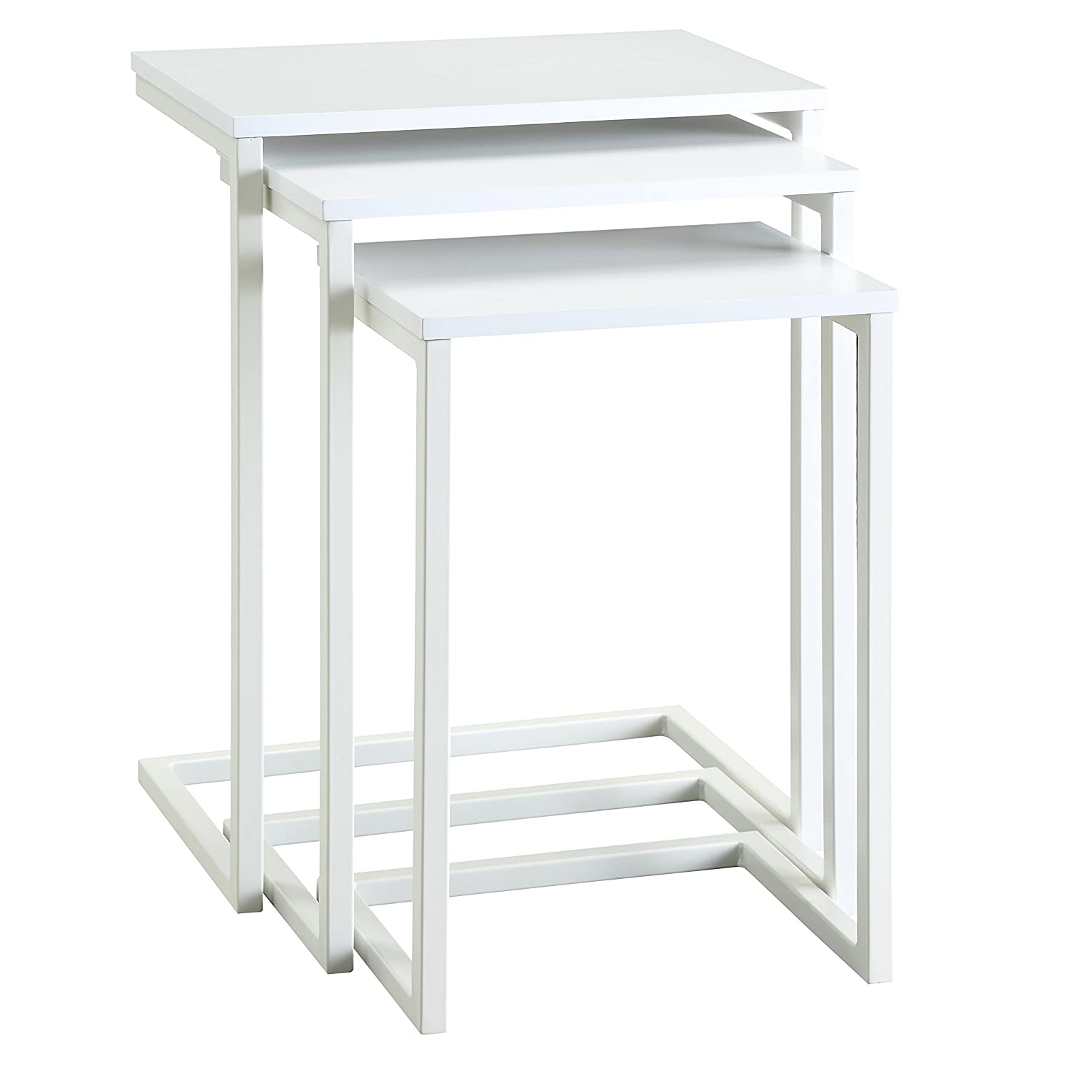 Carolina Chair and Table Madison Nesting Table Set, White 1WSS-2016WHT