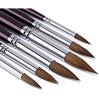 Sable Watercolor Brushes-6pcs Round Pointed Paint Brushes Premium Sable Hair Artist Brushes Perfect for Watercolor…