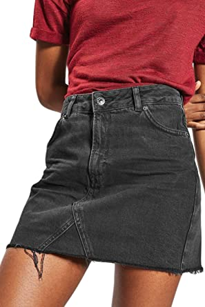 fdb0c3e10 Women Summer Casual High Waist Denim Mini Skirts A-line Jean Skirt:  Amazon.co.uk: Clothing