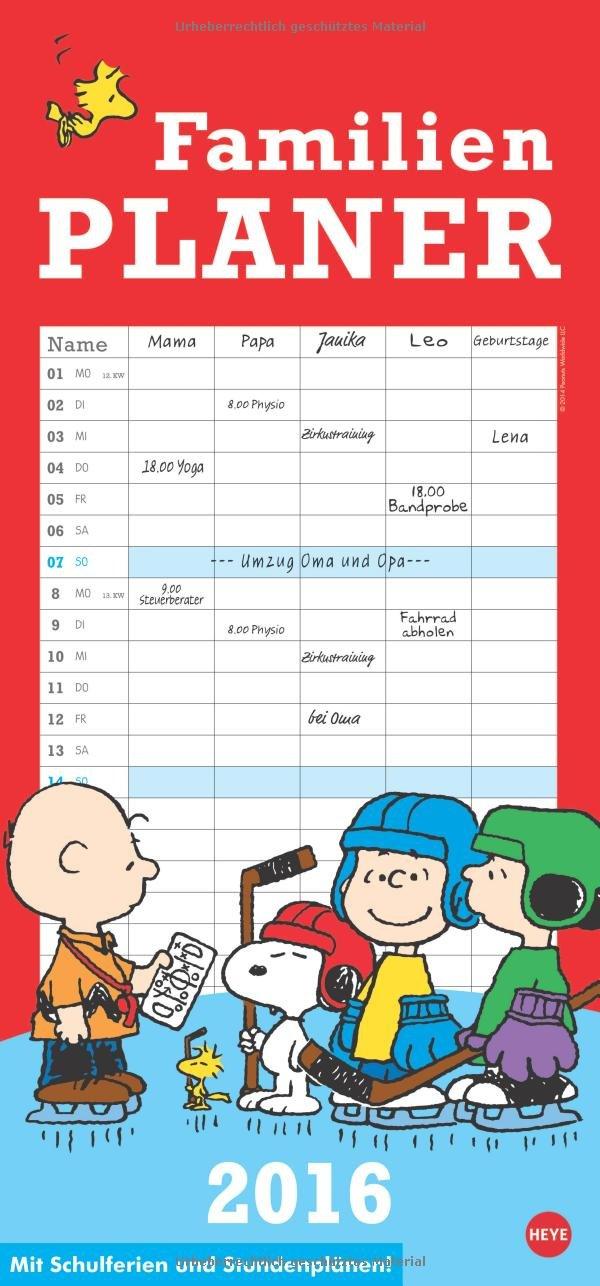 Peanuts Familienplaner 2016 Kalender – 23. Februar 2015 Heye Heye in Kalenderverlag KVH 384013501X Cartoons (Kalender)