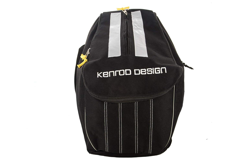 Kenrod Zaino per casco di motociclisti Riflettente Regolabile sul retro Include 3 carabiners Misure-Base 22x22 cm Altezza 40x31 cm 20311635-0-1 20308352-negro / gris_UNICA
