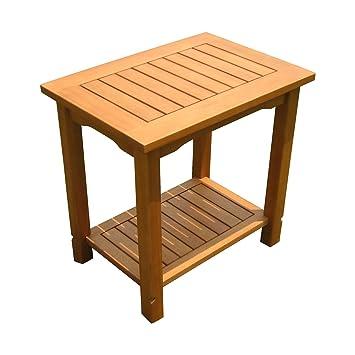Perfekt Eukalyptus Beistelltisch Geölt   50x35 Cm   Holz Garten Tisch Klein Mit 2  Ablagen