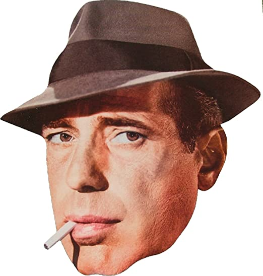 1940s Men's Costumes: WW2, Sailor, Zoot Suits, Gangsters, Detective Hollywood Star - Humphrey Bogart - Card Face Mask $4.99 AT vintagedancer.com