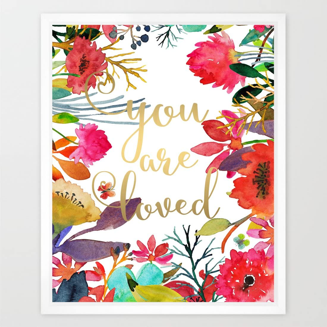 Eleville 8X10 You are loved Real Gold Foil and Floral Watercolor Art Print (Unframed) Nursery Wall Art Home Decor Motivational Art Inspirational Print Birthday Wedding Gift Quote Print WG001