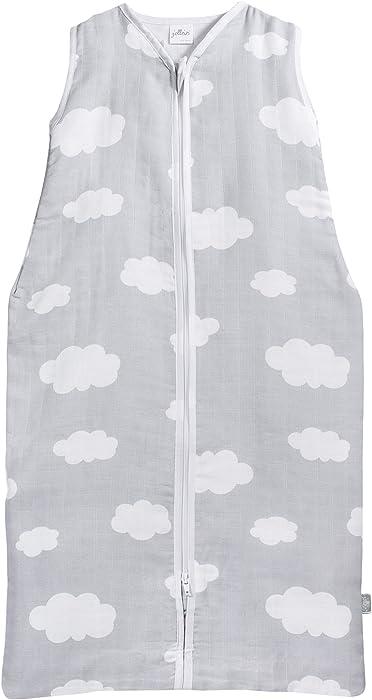 Jollein 048 – 510 – 65057 Saco de dormir Verano 70 cm, Mull Clouds gris