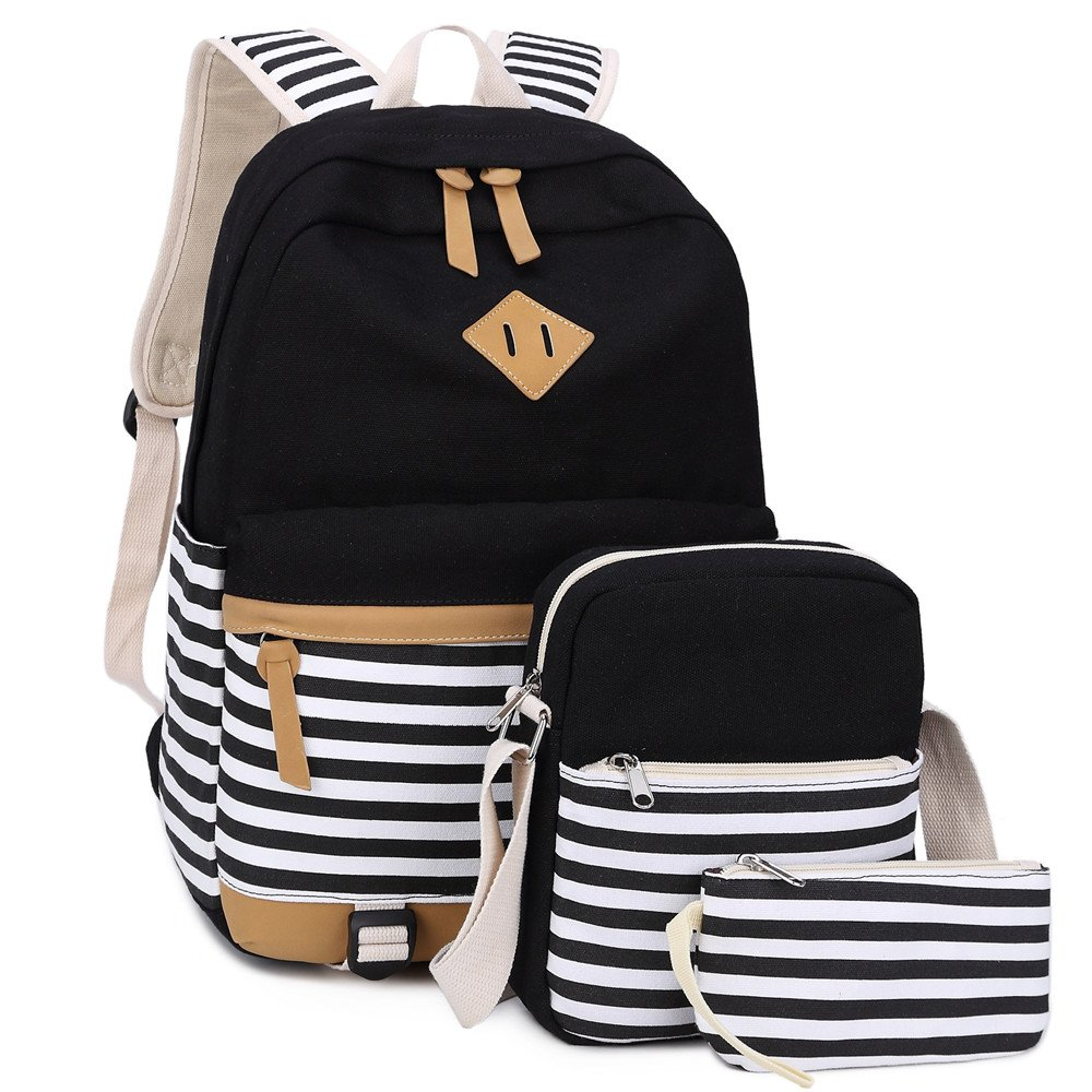 BLUBOON Bookbags Canvas Stripe School Backpack Set for Teens Schoolbags 3 in 1 (Black stripe-3pcs) by BLUBOON