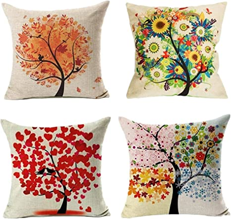 Logobeing 4Pcs/Set Funda Cojines 45X45 Colorido Otoño Flor Árbol de Algodón de Lino Throw Pillow Case Funda de Almohada Para Funda de Cojín: Amazon.es: Bebé