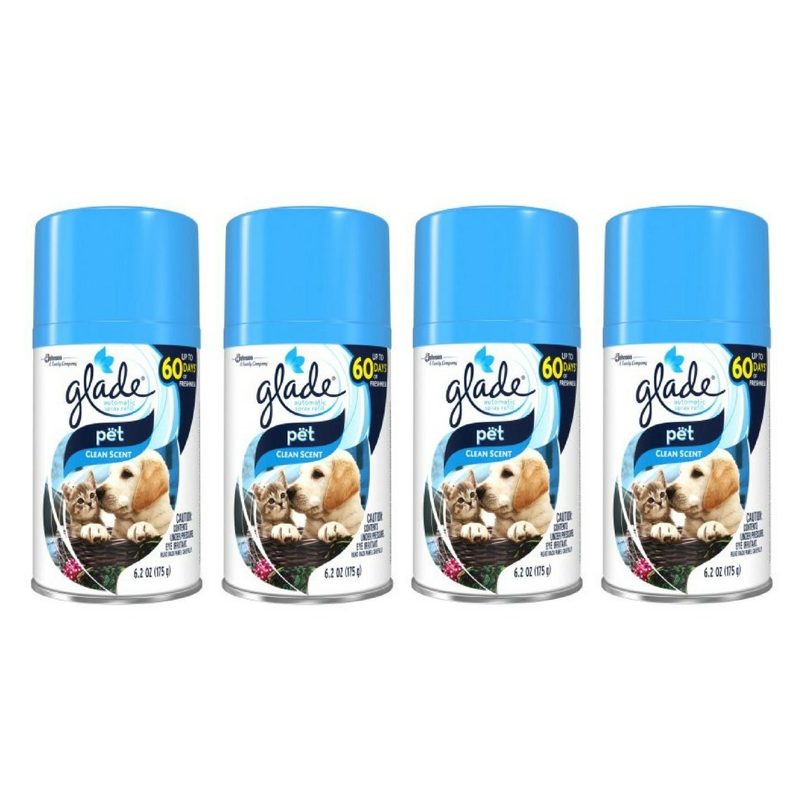 Automatic Spray Air Freshener Refill, Pet Clean Scent, 6.2 Ounce - 4 Packs