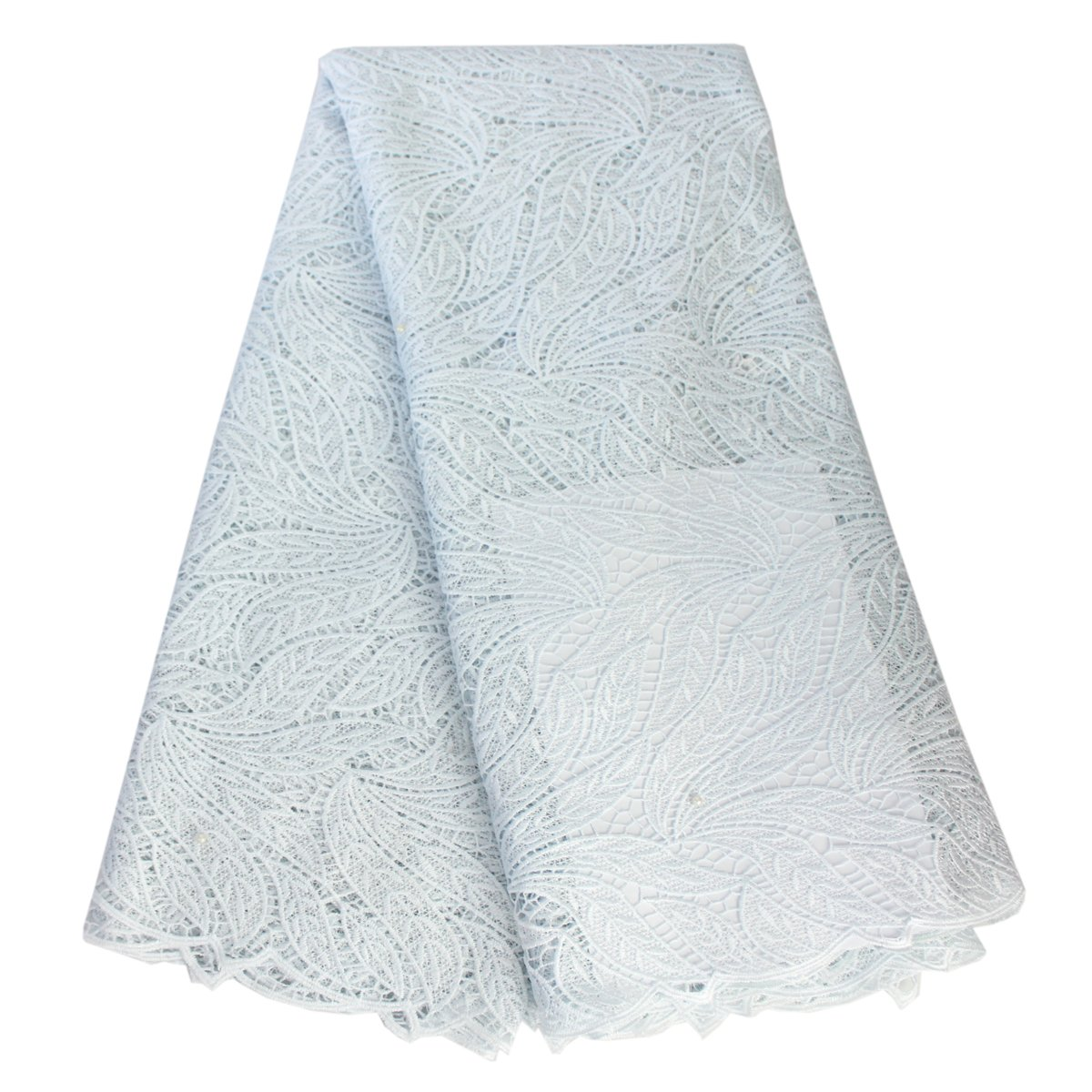 Aisunne 5 Yards African Lace Fabrics Classics Nigerian French Lace Fabric with Embroidered for Wedding Party Dresses (White) by Aisunne