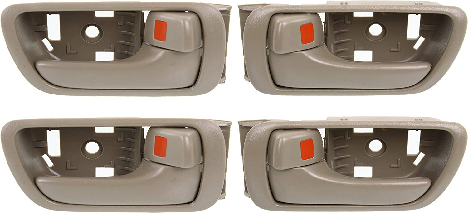 Interior Door Handle Compatible with Toyota Camry 2002-2006 Set of 4 Front and Rear Right Side and Left Side Beige Plastic Japan//Usa Built
