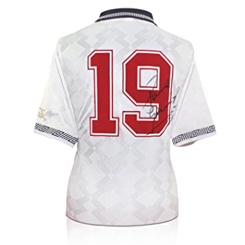 exclusivememorabilia.com Inglaterra 1990 Camiseta de fútbol de la Copa del Mundo firmada por Paul