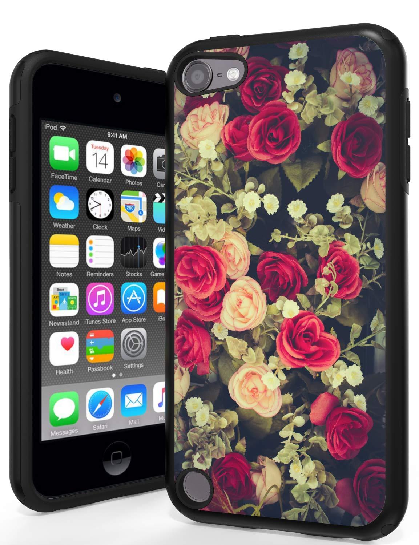 ANLI iPod 第6世代ケース iPod 5ケース 落下保護 ハイブリッド 2層保護ケースカバー Apple iPod Touch 5/6に対応  Rose Flowers B07Q2Q5RLW