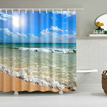 Wiffe Ocean Nautical Coastal Beach Bathroom Waterproof Fabric Shower Curtain Hook Set