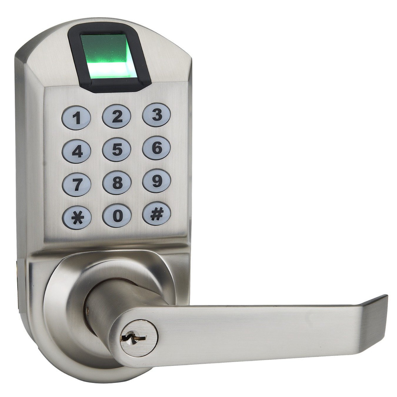 Ardwolf A1 No Drills Needed Keyless Keypad Biometric Fingerprint Door Lock, Unlock with Fingerprint Key Password - Satin Nickel by Ardwolf