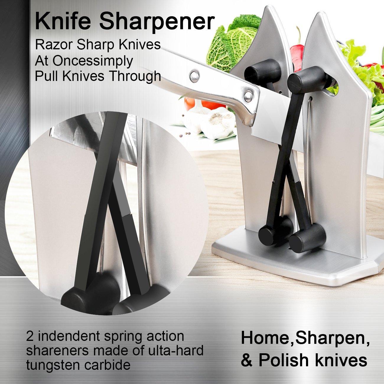 Afilador de cuchillos, afilador de cuchillos manual como se ve en los tonos de TV y pule cuchillos de cocina serrado, afilador de cuchillas, afilador de cuchillos de chef Silvery