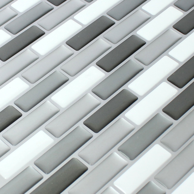 Mosaikfliesen Vinyl Mosaik D Grau Silber Mix Amazonde Baumarkt - Mosaik fliesen grau mix
