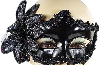 """Augenmaske /""""Venezia/"""" mit Federn Maske Karneval venezianisch schwarz"""