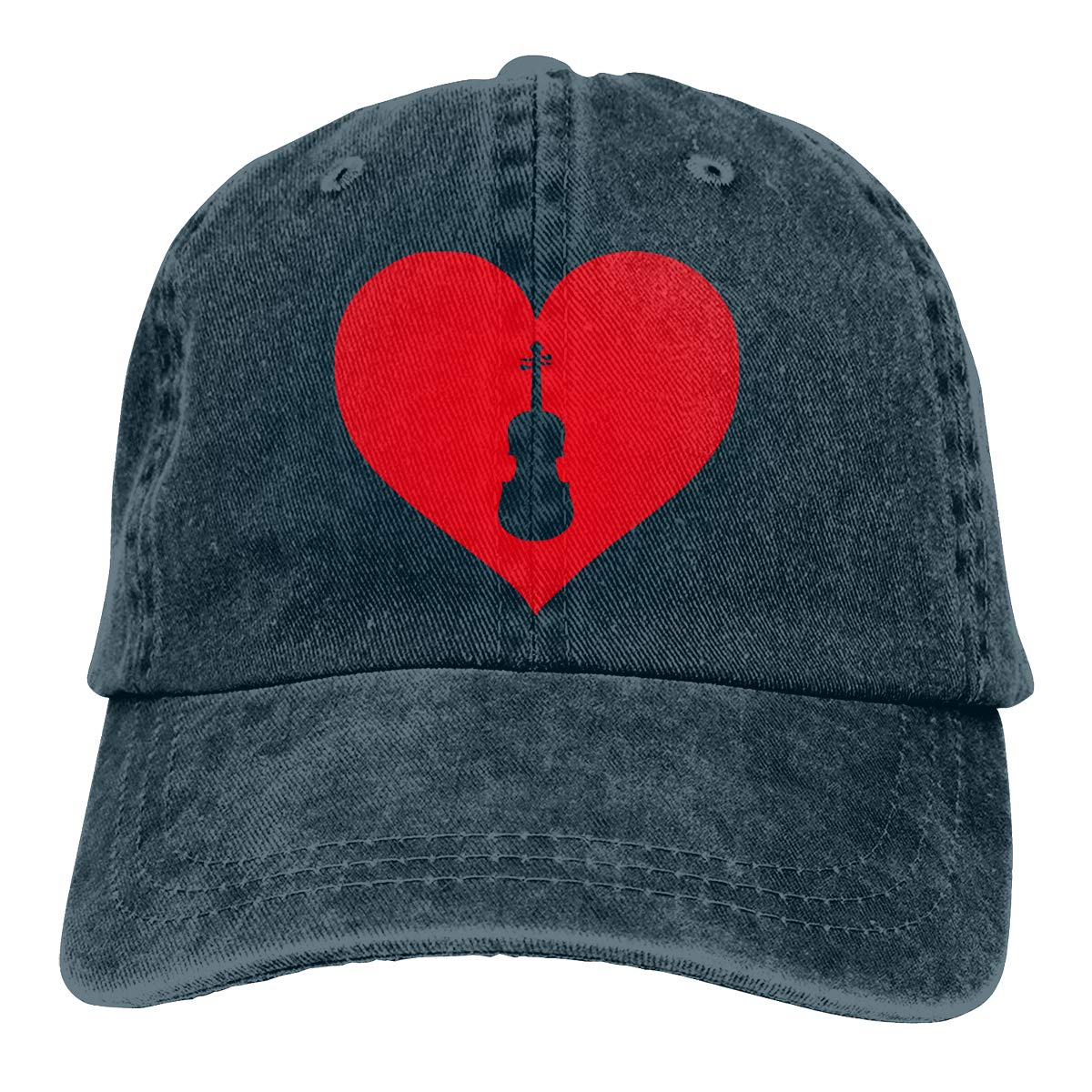 Men Women Vintage Denim Jeans Baseball Cap Violinist Love Heart-2 Hiphop Cap