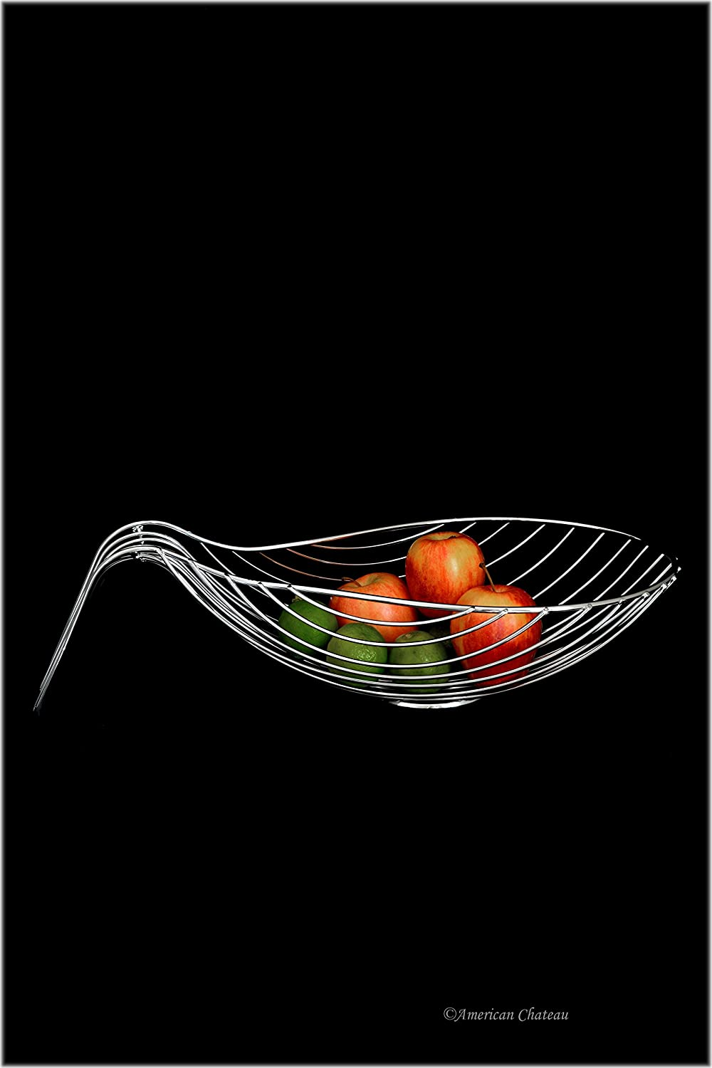 Retro Chrome Plated Wire Metal Scoop Shaped Centerpiece Fruit Basket Bowl American Chateau