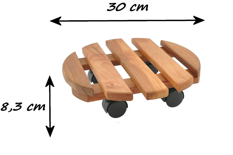 Mover Pot Dolly Fiore Supporto con Ruote Carrello portavasi in Legno di ontano Stile Vintage Olio Rotondo da 30 cm. RADO
