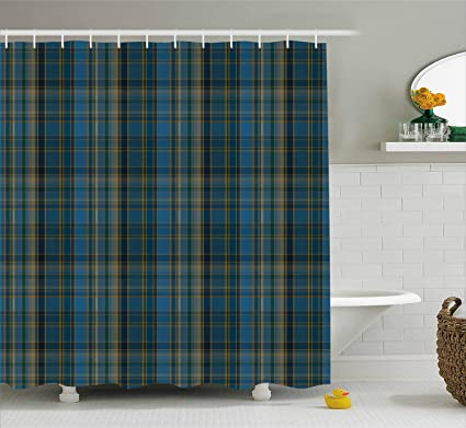 Lunarable Plaid Shower Curtain Striped Geometric British Pattern With Modern Design Elements In Blue