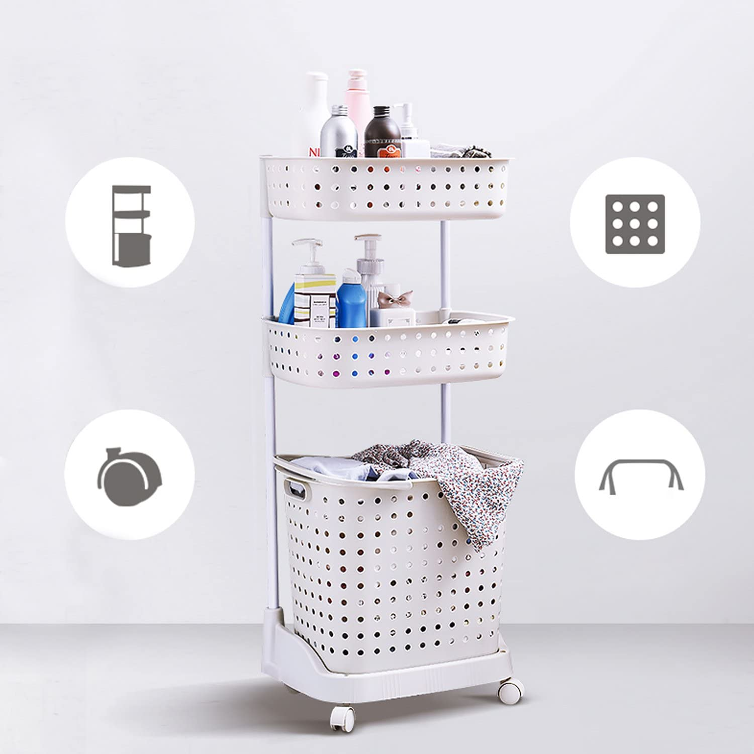 Hans&Alice Collapsible Laundry Drying Rack with Hooks,Clips and Shoe Dryer for Indoor/Outdoor (Laundry Basket)