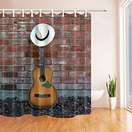 Rustic Wood Wall Western Cowboy Hat Guitar Shower Curtain Set Waterproof Fabric