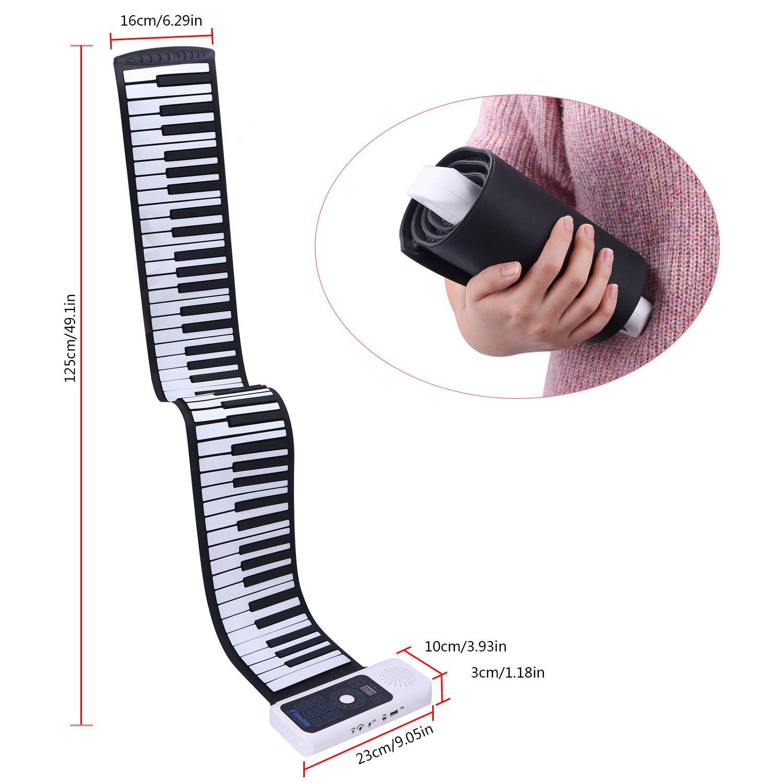 Teclado electrónico CAHAYA, Piano eléctrico Enrollable con 88 teclas y batería recargable, con 128 tonos/ritmos, permite grabar las melodías: Amazon.es: ...