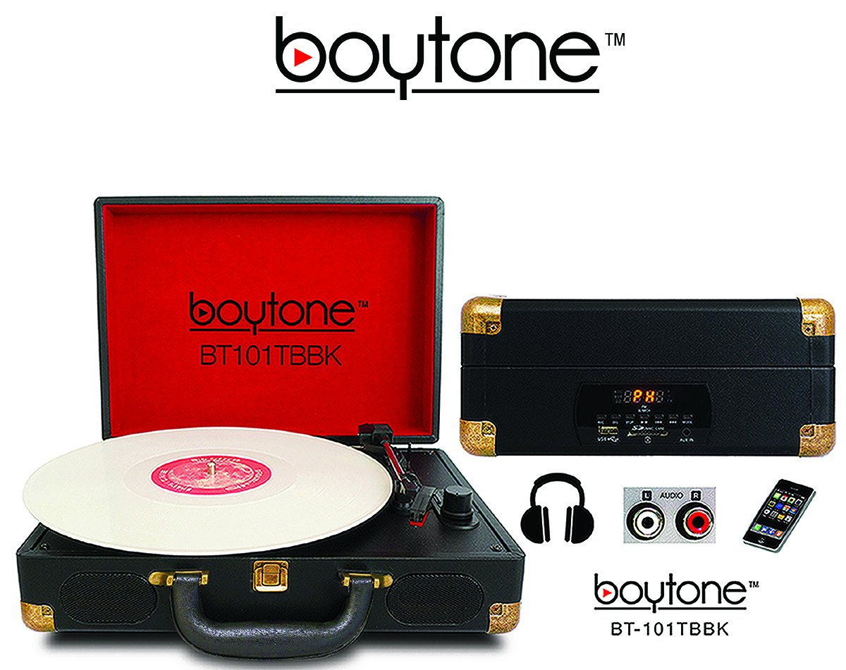 Boytone BT-101TBBK 5 in 1 Briefcase Record Player AC-DC Built in Rechargeable Battery, with 2 Stereo Speakers 3-speed 33/45/78, LCD Display, FM Radio, USB/SD Slot, AUX + MP3, Encoding, Headphone Jack by Boytone