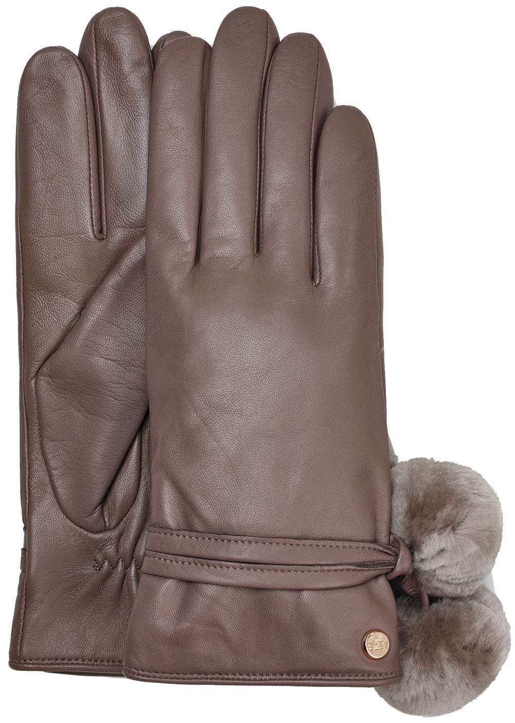 UGG Womens Leather Pom Glove, Storm Grey, Size Small by UGG