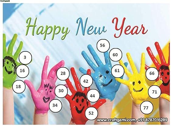 Craftgami - New Year Theme Tambola Tickets - Housie Tickets (24 Tickets)