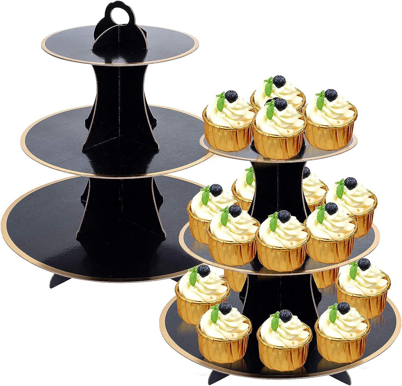 3-Tier Cupcake Holder 2 Pcs Dessert Tower Round Cardboard Cupcake Stand for Wedding Bithday Party Baby Shower Black
