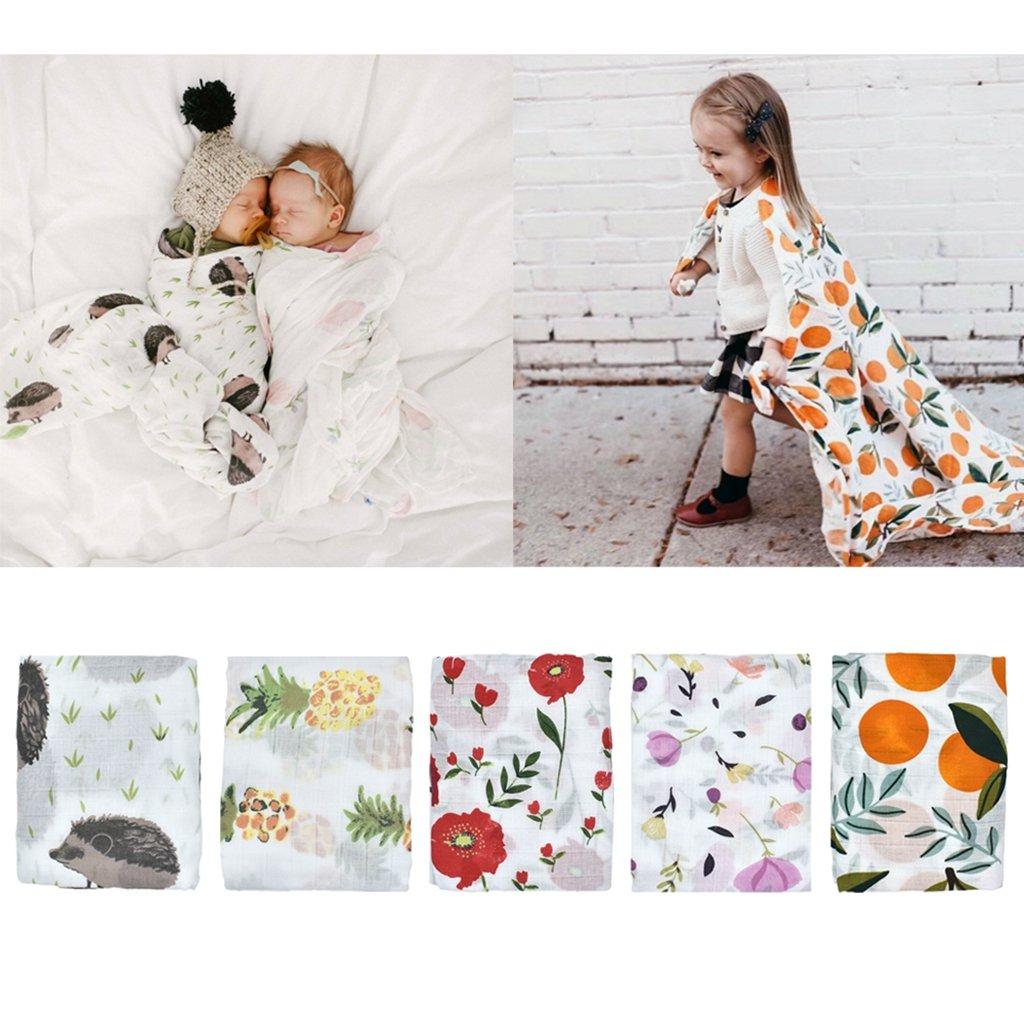 Hedgehog Fityle Baby Boy Girl Muslin Cotton Receiving Blanket Infant Sleep Bedding Wrap Swaddle 120x120cm