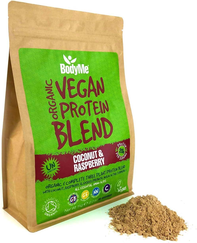 BodyMe Mezcla de Proteina Vegana Organica en Polvo   Crudo Coco Frambuesa   1kg   Sin Edulcorante   Baja Carb   Sin Gluten   3 Proteinas Veganas   20g ...