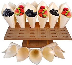 Ice Cream Cone Holder Stand - w/ 100 Wooden Cones – Snack Tray for Weddings - Food Cone Stand for Buffets, Restaurants, Food Trucks or Catered Events - 13