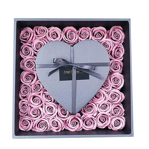 Rosas en una Caja de Regalo Flor nunca marchita Jabón hecho ...