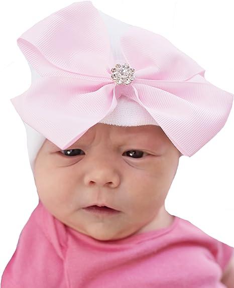 USA Newborn Infant Baby Girls Soft Cotton Hospital Cap Big Flower Princess Hats