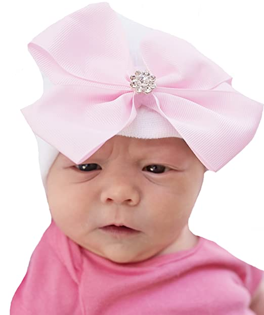 7a17549ce1e Image Unavailable. Image not available for. Color  Melondipity Precious Pink  Big Bow with Rhinestone Newborn Girl Hospital Hat