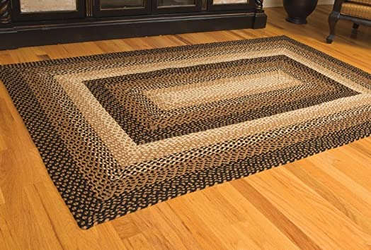 IHF Home Decor Stallion Design Braided Area Rug 3 x 5 Rectangle Accent Floor Carpet Jute Natural Fiber