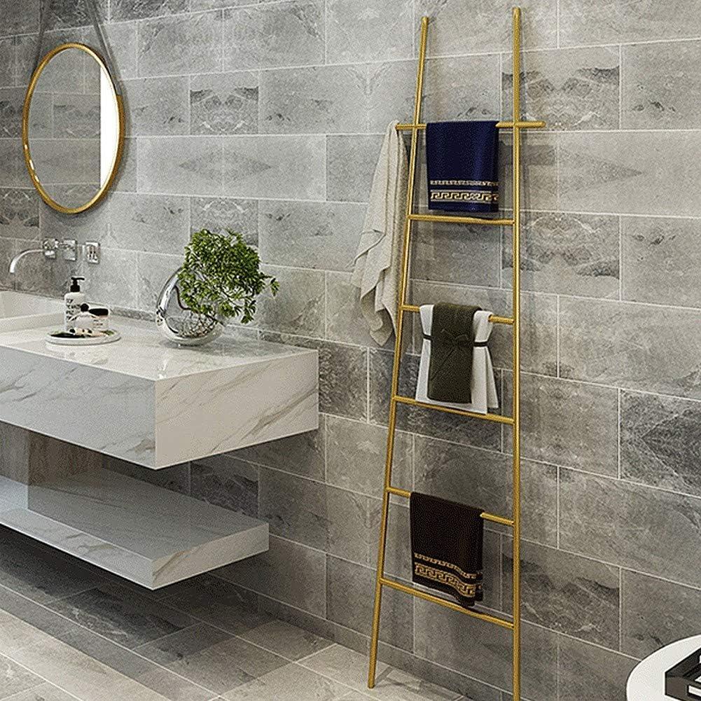 M-TOP Toallero de Escalera de baño de Metal, con 6 Barras de Color Negro, sin taladrar, Duradero, Soporte de Almacenamiento Funcional: Amazon.es: Hogar