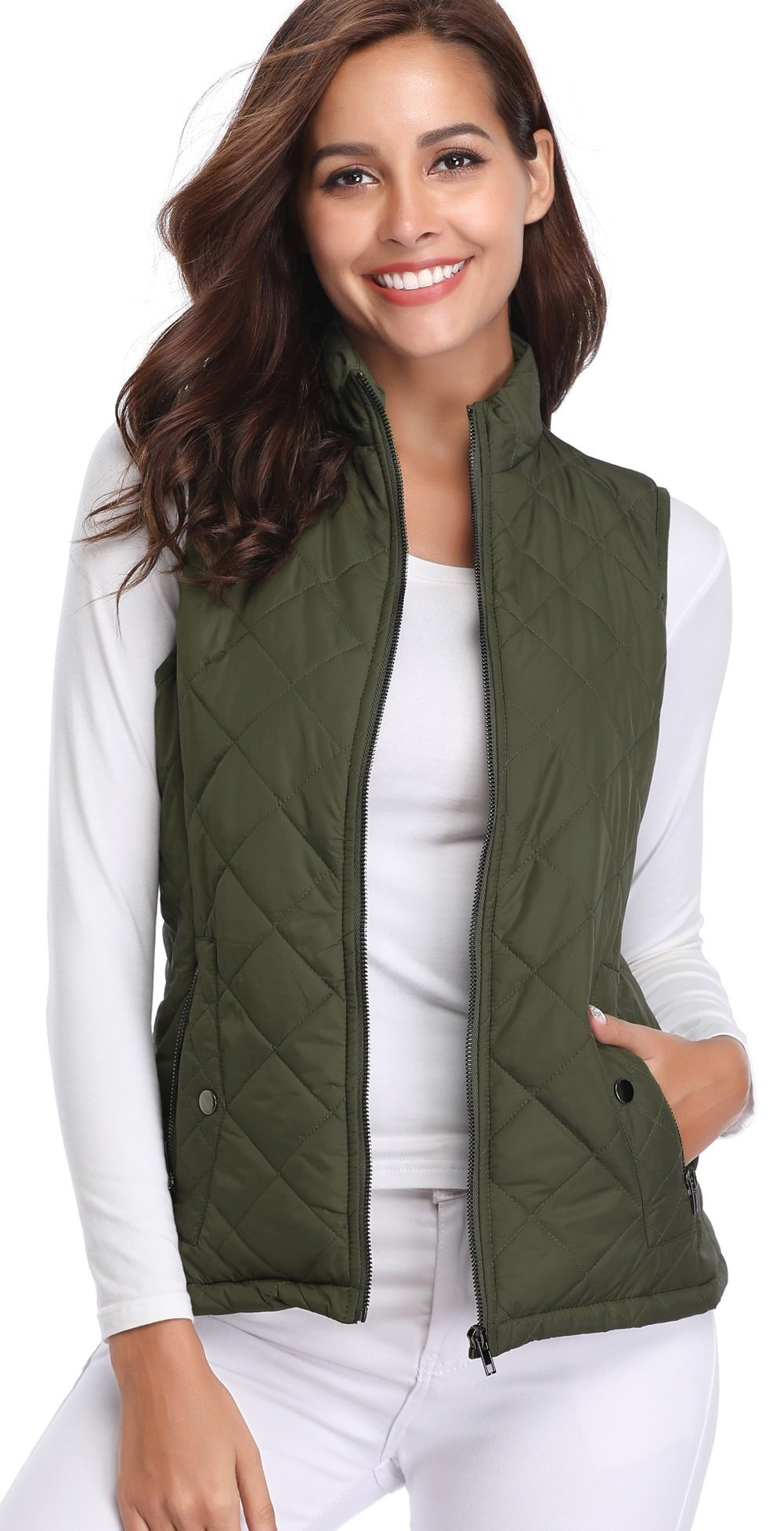 Argstar Women's Stand Collar Lightweight Padded Zip Vest Quilted Gilet,Green,Large (US 12-14)
