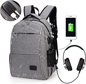 Laptop Backpack, WInblo 15.6 Inch College Backpack with USB Charging Port & Headphone Interface Business Laptop Backpack Light Weight Travel Backpack for Men Women (Grey)