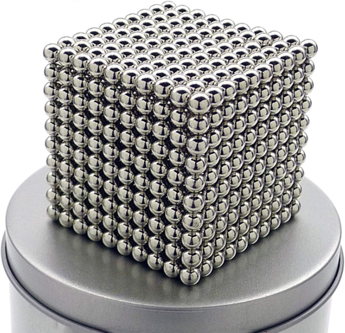 RQW Magnet Balls Multicolored 1000 Pieces 3 MM Powerful Creative Rainbow Cube Tactile Office Desktop Toys Sculpture Entertainment Stress Relief (Silver)