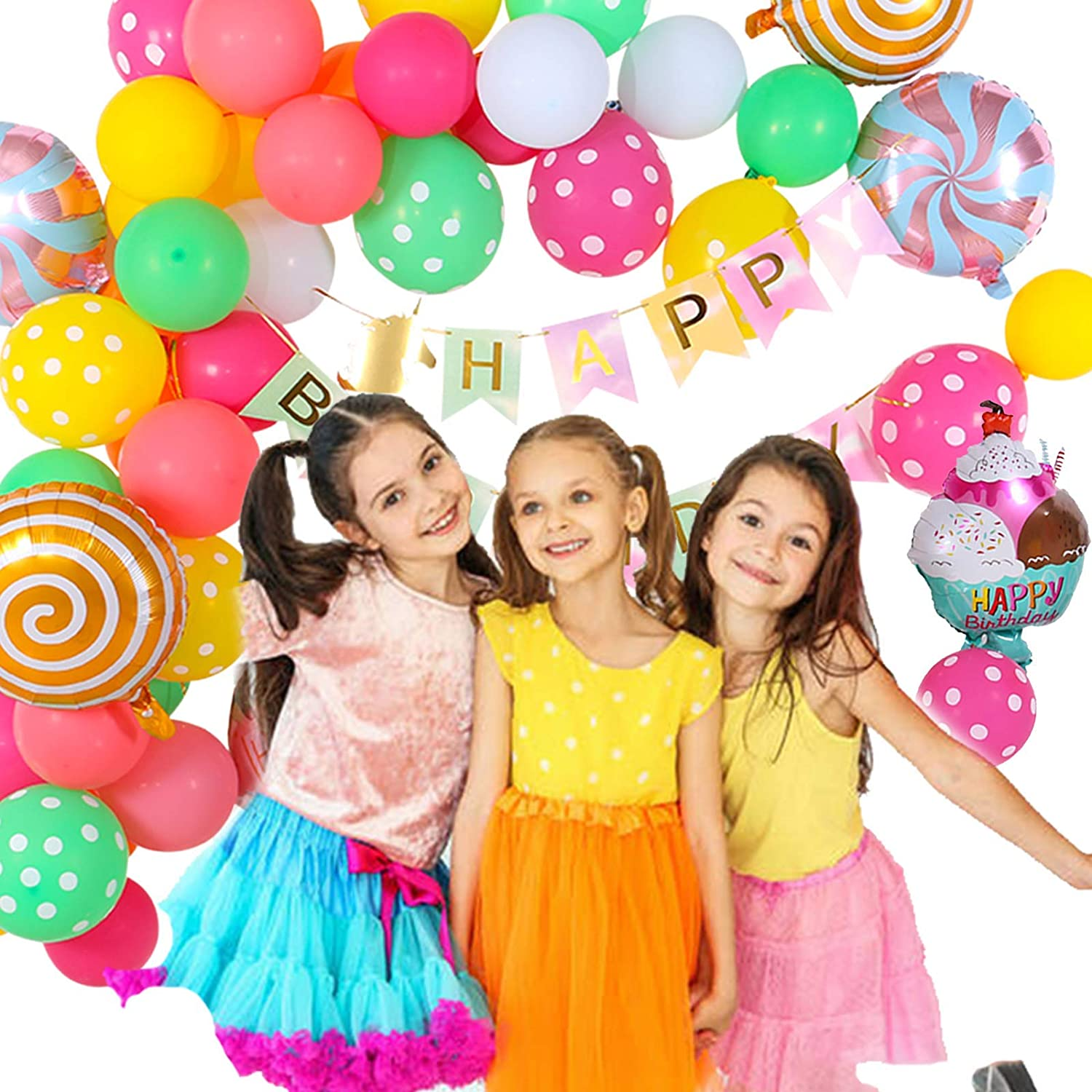 Happy Birthday Banner with Latex Water Balloons Arch Kit Foil Balloon Ice Cream Donut Birthday Party Decorations for Girls Kids Candy