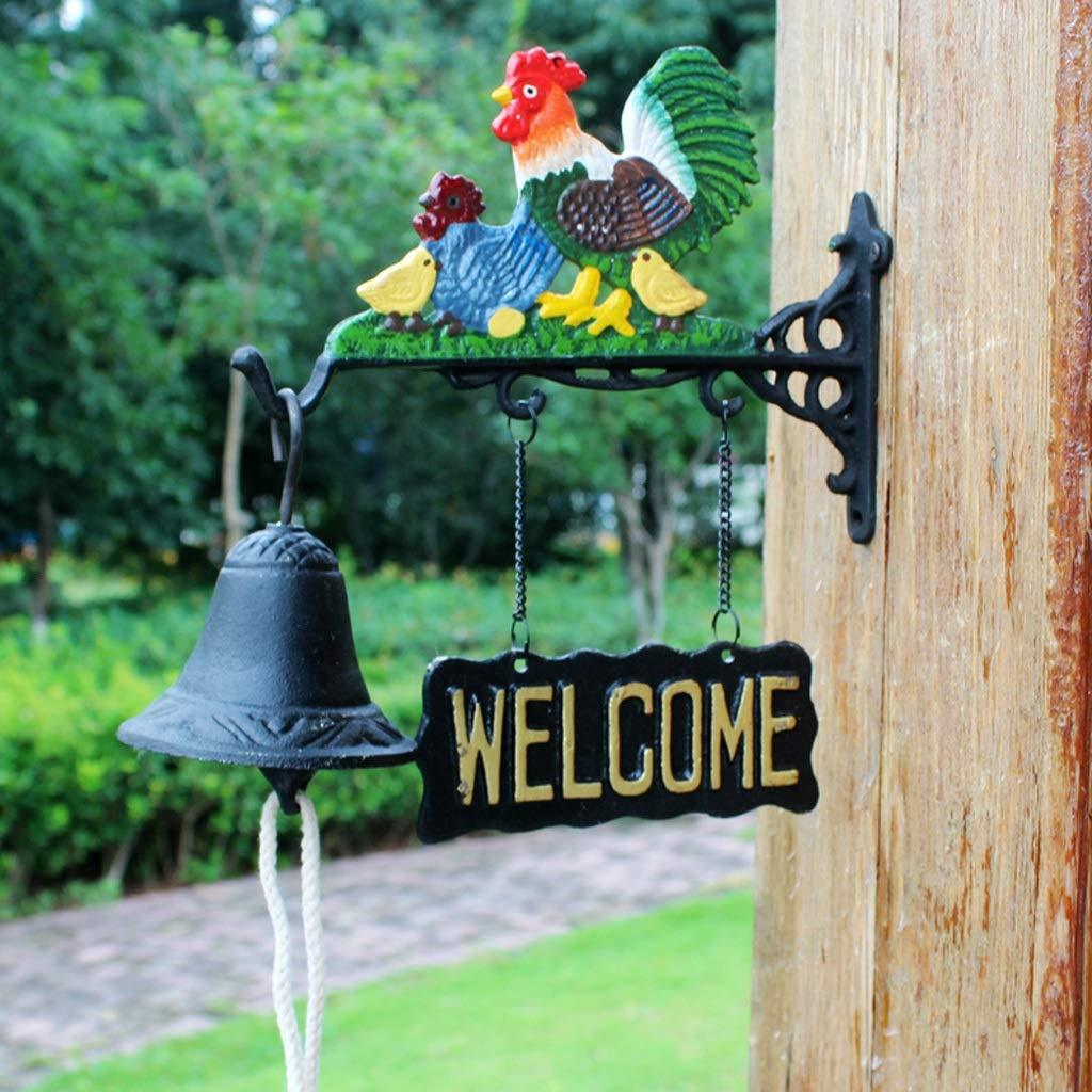 GLJJQMY Cast Iron Decorative doorbell Fashion Villa Hand Bell Door Personalized Retro Garden Wind Chime Decoration 24x10x27.5cm etro doorbell