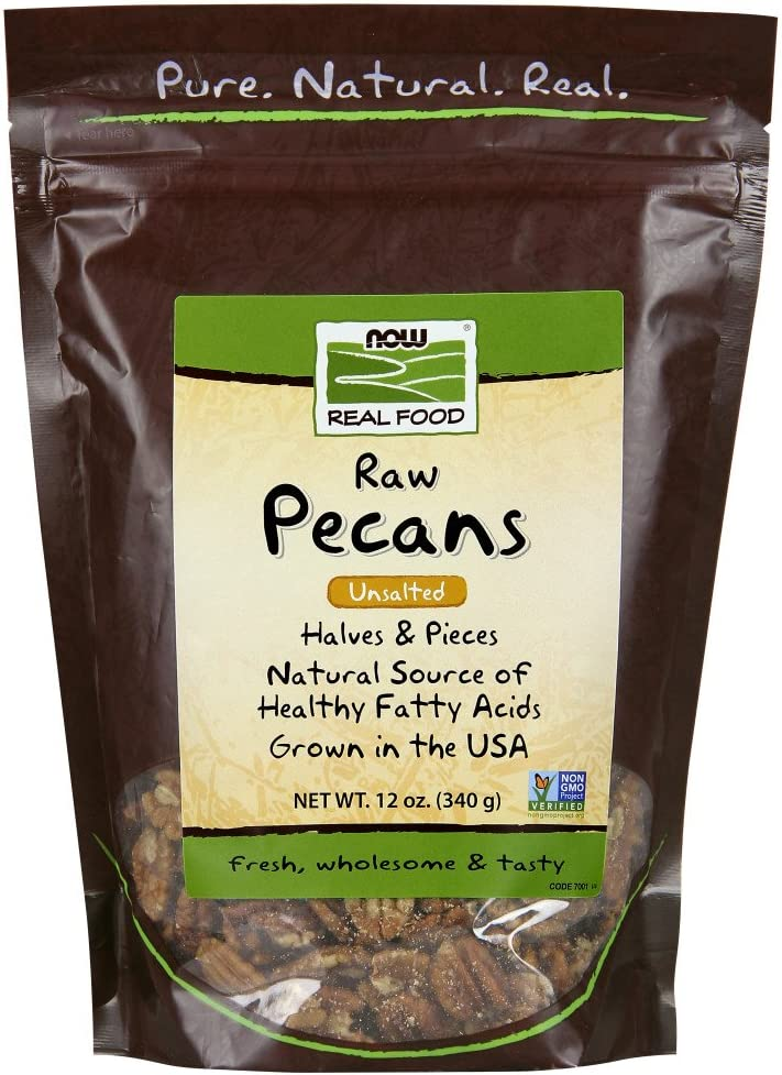 NOW Foods, Pecans, Raw and Unsalted, Halves and Pieces, Natural Source of Essential Fatty Acids, Grown in the USA, 12-Ounce