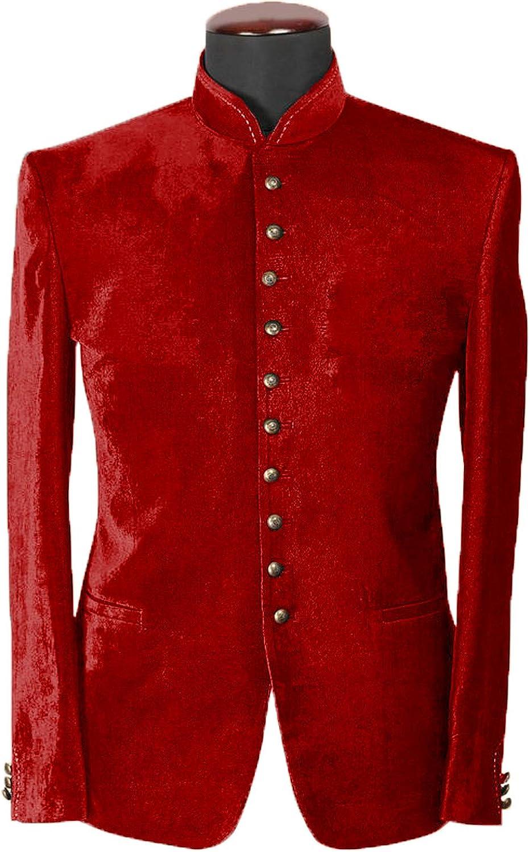 DGMJ Mens Stand Up Collar Blazer Casual Velvet Mandarin Collar Jacket for Men Party JK029