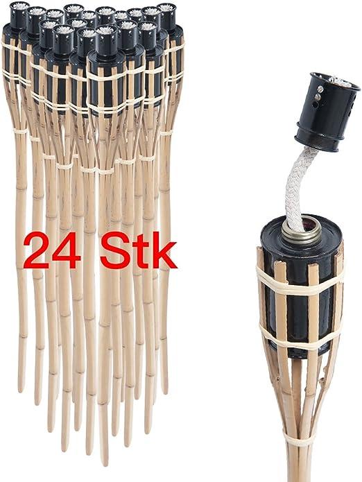 Pre & mium 24 x antorcha de jardín bambú 90 cm Bambú antorcha antorcha de jardín con protección contra las tormentas: Amazon.es: Jardín