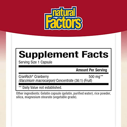 CranRich by Natural Factors, Super Strength Cranberry Concentrate, Antioxidant Supplement for Urinary Tract Support, Non-GMO, 180 capsules 180 servings
